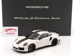 Porsche 911 (991) Turbo S Exclusive Series blanc, noir Avec Vitrine 1:18 Spark