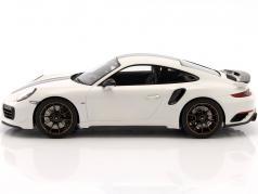 Porsche 911 (991) Turbo S Exclusive Series 白色, 黑色 用 展示柜 1:18 Spark