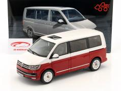Volkswagen VW Multivan T6 Generation Six année de construction 2017 rouge / blanc 1:18 NZG