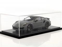 Porsche 911 (991) Turbo S Exclusiv Series gris / noir avec vitrine 1:18 Spark