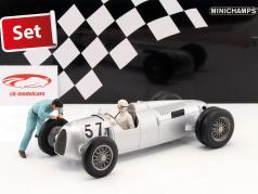 Set: Figutec figure   Auto Union Typ C #57 Winner Shelsley Walsh Hillclimb 1936 Stuck 1:18 Minichamps