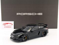 Porsche Cayman GT4 preto com mostruário 1:18 Spark