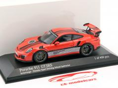 Porsche 911 (991) GT3 RS Porsche Sport Driving School Instructor 2014 lava arancione 1:43 Minichamps