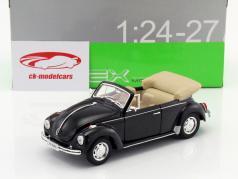Volkswagen VW Beetle converteerbaar Bouwjaar 1960 zwart 1:24 Welly