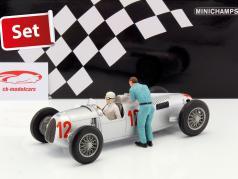 Set: Figutec figure   Auto Union Typ C #12 GP Budapest Formel 1 1936 Stuck 1:18 Minichamps