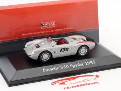 Porsche 550 Spyder #130 Little Bastard year 1955 silver metallic / red 1:43 Atlas