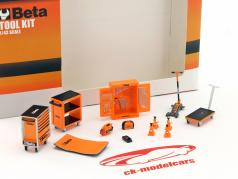 oficina acessórios Beta Tool Kit laranja / preto 1:43 TrueScale