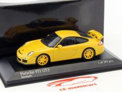 Porsche 911 (997 II) GT3 Bouwjaar 2009 geel / geel velgen 1:43 Minichamps