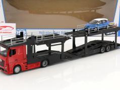 Mercedes-Benz Actros transportador de carro com Renault Captur vermelho / preto / azul / branco 1:43 Bburago