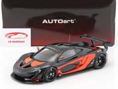 McLaren P1 GTR Opførselsår 2015 sort / appelsin 1:18 AUTOart