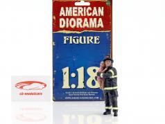 bombeiro figura II Saving Life 1:18 American Diorama