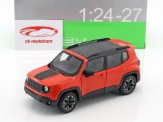Jeep Renegade Trailhawk Bouwjaar 2016 oranje / zwart 1:24 Welly