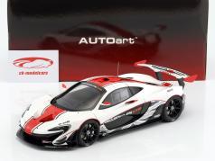 McLaren P1 GTR anno di costruzione 2015 bianco / rosso / nero 1:18 AUTOart
