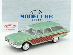 Ford Country Squire com olhar de madeira verde metálico 1:18 Model Car Group