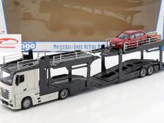 Mercedes-Benz Actros Multicar Carrier og Ford Focus hvid / rød 1:43 Bburago