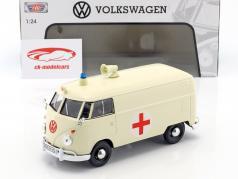 Volkswagen VW Type 2 T1 ônibus vermelho cruz ambulância branco 1:24 MotorMax