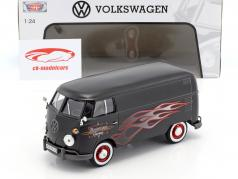 Volkswagen VW Type 2 T1 bus Custom Garage måtten sort med flammer 1:24 MotorMax