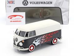 Volkswagen VW Type 2 T1 bus Hot Rod mat zwart / wit met vlammen 1:24 MotorMax