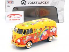 Volkswagen VW Type 2 T1 bus Flower Power yellow / orange 1:24 MotorMax