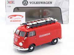 Volkswagen VW Type 2 T1 bus brandweer rood 1:24 MotorMax