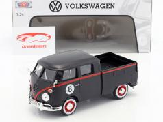 Volkswagen VW Type 2 T1 Pick-Up Hot Rod 8 Ball måtten sort / rød 1:24 MotorMax