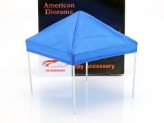 Conjunto de 2 tenda canopy com quadro de cromo vermelho / azul 1:18 American Diorama