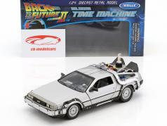 DeLorean Time Machine Flying Wheel Version Back to the Future II (1989) prata metálico 1:24 Welly