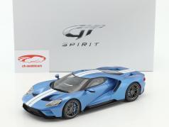 Ford GT MY17 lyseblå metallisk / hvid 1:18 GT-Spirit