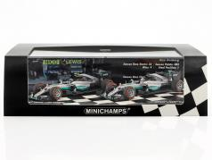 2-Car Set Mercedes AMG Petronas F1 Team Constructors monde champion F1 2016 1:43 Minichamps