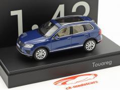 Volkswagen VW Touareg Opførselsår 2015 blå metallisk 1:43 Herpa