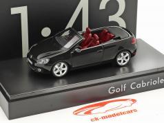 Volkswagen VW Golf Cabriolet Opførselsår 2012 sort med rød sæder 1:43 Schuco