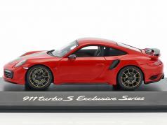 Porsche 911 (991) Turbo S Exclusives Series red metallic 1:43 Spark