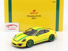 Porsche 911 (991) R ano de construção 2016 amarelo / verde 1:18 Spark
