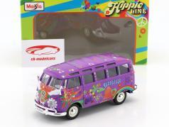 Volkswagen VW T1 Samba Bus Hippie Line Flower Power púrpura 1:24 Maisto