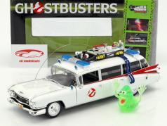 Cadillac ambulância Ecto-1 ano de construção 1959 filme Ghostbusters (1984) branco com figura Slimer 1:18 Ertl
