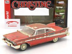 Plymouth Fury año de construcción 1958 película Stephen King Christine rojo / blanco Dirty Version 1:18 Autoworld