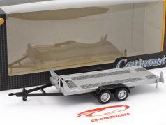 pendant Auto transporter trailer with tandem axle silver 1:43 Cararama