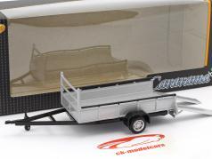 trailer reboque transporte Auto com 1 eixo prata 1:43 Cararama