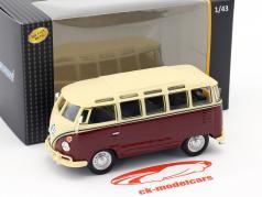 Volkswagen VW T1 Samba Bus púrpura / blanco cremoso 1:43 Cararama