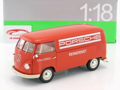 Volkswagen VW T1 Bus Porsche Renndienst Bouwjaar 1963 rood / wit 1:18 Welly
