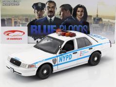 Ford Crown Victoria Police Interceptor NYPD 2001 série de TV Blue Bloods branco / azul 1:18 Greenlight
