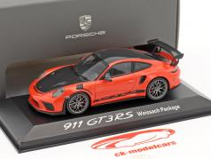 Porsche 911 (991 II) GT3 RS Weissach Package lave orange / noir 1:43 Minichamps