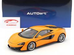 McLaren 570S anno di costruzione 2016 arancione con argento ruote 1:18 AUTOart