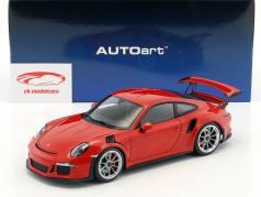 Porsche 911 (991) GT3 RS Opførselsår 2016 rød med sølv hjul 1:18 AUTOart