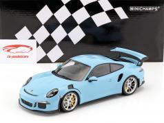 Porsche 911 (991) GT3 RS anno di costruzione 2015 gulf blu con tappetino argento cerchioni 1:18 Minichamps