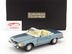 Mercedes-Benz 350 SL conversível Open Top ano de construção 1977 azul claro metálico 1:18 SunStar