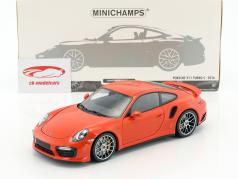 Porsche 911 (991 II) Turbo S année de construction 2016 orange 1:18 Minichamps