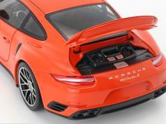 Porsche 911 (991 II) Turbo S Bouwjaar 2016 oranje 1:18 Minichamps