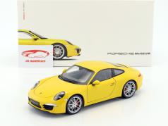 Porsche 911 (991) Carrera S Bouwjaar 2015 racing geel 1:18 Welly