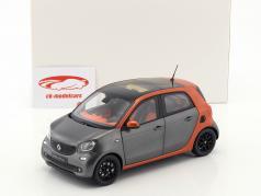 智能forfour跑车-Smart forfour Coupe (W453) 灰/ 橙色 1:18 诺威尔 Norev